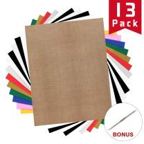 """HTV Heat Transfer Vinyl Bundle: 13 Pack 12"""" x 10"""" Iron on Vinyl for T-Shirt, 9 Assorted Colors with HTV Accessories Tweezers for Cricut, Silhouette Cameo or Heat Press Machine"""