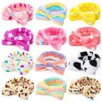 Shindel Bow Hair Band, 12PCS Makeup Headbands Spa Headband, Soft Coral Fleece Head Wraps, for Washing Face Shower Spa Mask