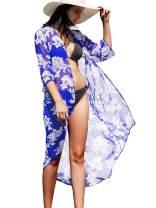 Women's Long Chiffon Kimono Cardigan - Summer 3/4 Sleeve Cover Up Beachwear Swimsuit for Bikini Soul Young