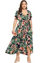 Milumia Plus Size Casual V Neck Belted Empire Waist Asymmetrical Maxi Dress