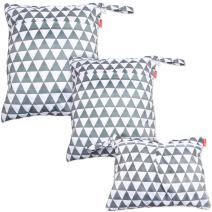 Damero 3pcs Travel Wet and Dry Bag with Handle for Cloth Diaper, Pumping Parts, Clothes, Swimsuit and More, Easy to Grab and Go, Gray Triangle