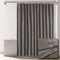 ALYVIA SPRING Black Cotton Shower Curtain with Sparkly Gold Thread - Glitter Design, Luxury and Spa - Black/Gold Metallic, 70x72 Inches