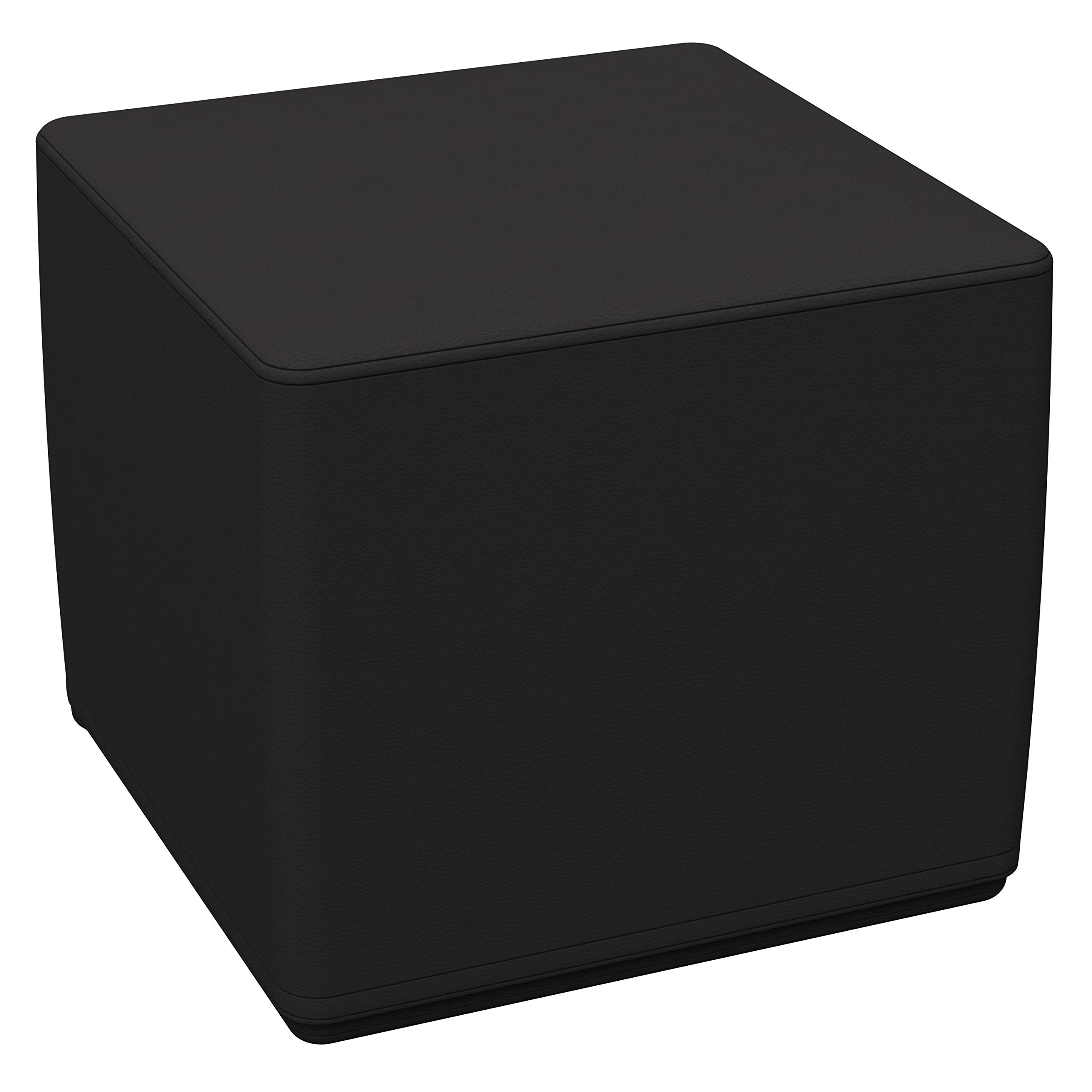 """FDP SoftScape 18"""" Square Ottoman, Collaborative Flexible Seating for Kids, Teens, Adults Furniture for Classrooms, Libraries, Offices and Home, Standard 16"""" H - Black"""