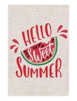 Zotemo Hello Sweet Summer Watermelon Garden Flag, Burlap 12.5 Inch x 18.5 Inch Double Sided Vertical Flag for Summer House Yard Decorations