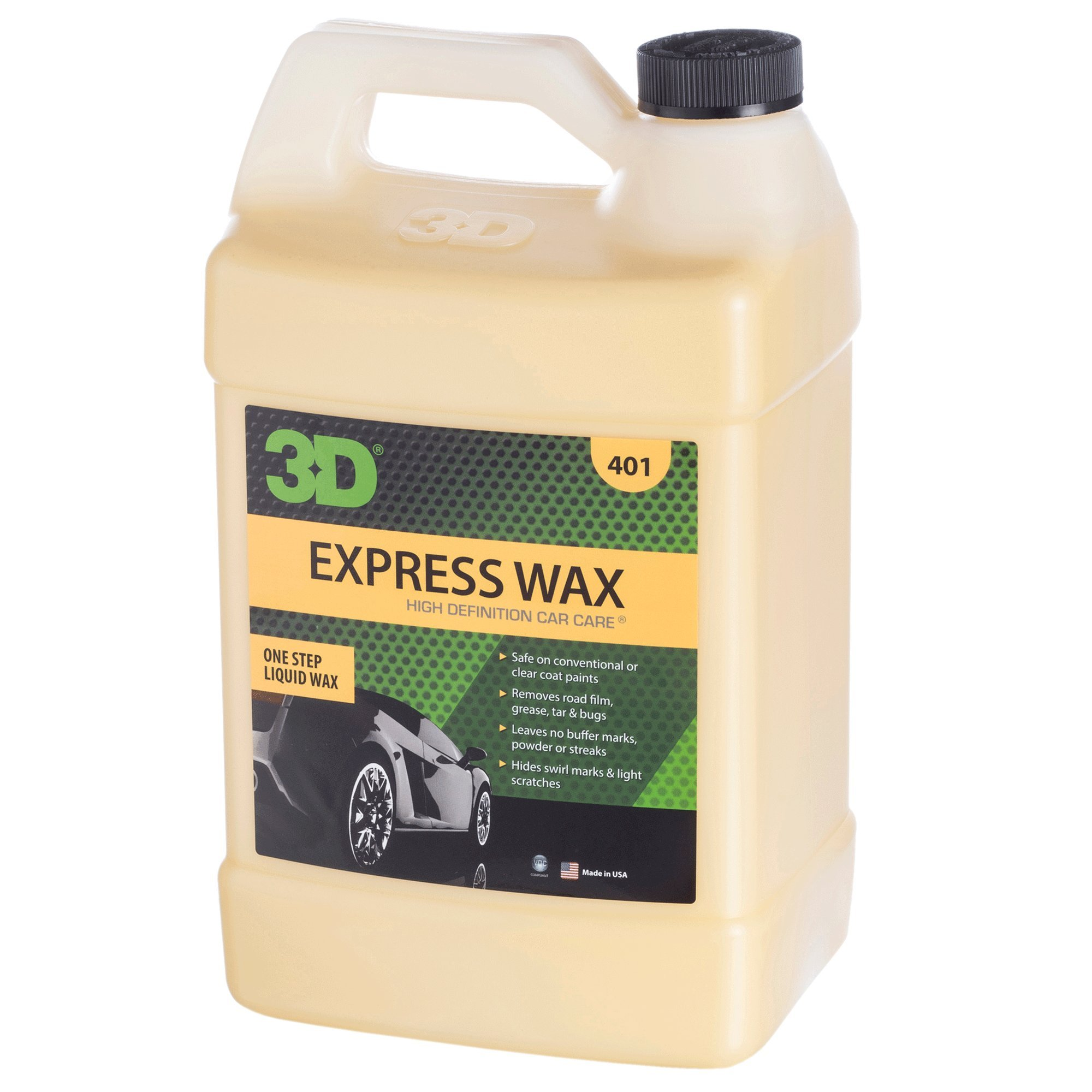 3D Express Wax One Step Liquid Wax | No Powder Residue or Streaking | Use as Dry Wash or Liquid Detailer | Made in USA | All Natural | No Harmful Chemicals (Gallon)