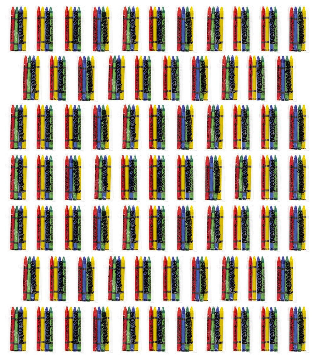 75 4-Packs of Premium Crayons - Each Pack Individually Wrapped in cellophane (Red, Green, Blue, Yellow) Safety Tested Compliant with ASTM D-4236 (300 Total Crayons)