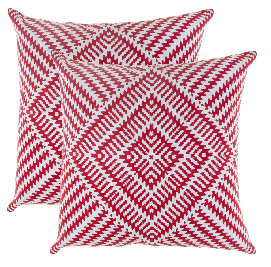 TreeWool, Pack of 2, Throw Pillow Cover Kaleidoscope Accent 100% Cotton Decorative Square Cushion Cases (22 x 22 Inches / 55 x 55 cm; Red & Off White)