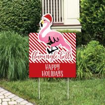 Big Dot of Happiness Flamingle Bells - Party Decorations - Tropical Flamingo Christmas Welcome Yard Sign