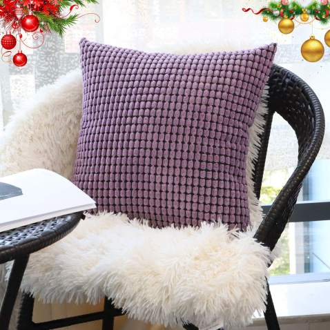 """Decorative Throw Pillow Covers 18"""" x 18"""" (No Insert),Solid Cozy Corduroy Corn Accent Square Pillow Case Sham,Soft Velvet Cushion Covers with Hidden Zipper for Couch/Sofa/Bedroom,Lavender Purple"""