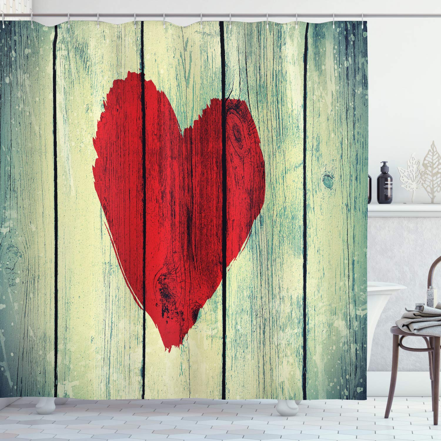 """Ambesonne Love Shower Curtain, Heart Painted on Rustic Wooden Wall Romance Affection Pleasure Themed Print, Cloth Fabric Bathroom Decor Set with Hooks, 84"""" Long Extra, Red Green"""