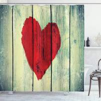 """Ambesonne Love Shower Curtain, Heart Painted on Rustic Wooden Wall Romance Affection Pleasure Themed Print, Cloth Fabric Bathroom Decor Set with Hooks, 70"""" Long, Red Green"""
