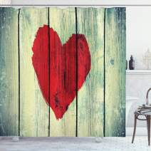 "Ambesonne Love Shower Curtain, Heart Painted on Rustic Wooden Wall Romance Affection Pleasure Themed Print, Cloth Fabric Bathroom Decor Set with Hooks, 84"" Long Extra, Red Green"