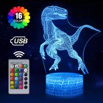 Dinosaur 3D Night Light for Kids, Dinosaur Toys for Boys, 16 Colors Dinosaur Lamp with Remote, Cool Gift for Dinosaur Birthday Party Supplies