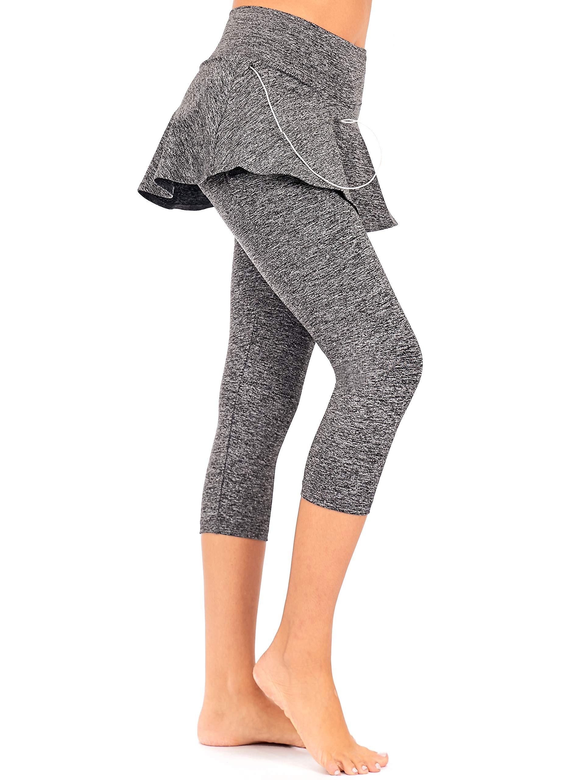 Dear Sparkle Skirted Capri Skirt Leggings For Women Yoga Tennis Golf Skapri W Pockets Plus Size S19