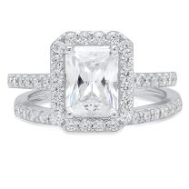 2.30 CT Emerald Brilliant Cut Designer Solitaire Pave Halo Statement Classic Solitaire Anniversary Engagement Wedding Bridal Promise Ring Band set Solid 14k White Gold