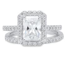 2.20ct Emerald Round Cut Pave Halo Solitaire Accent Lab Created White Sapphire & Simulated Diamond Engagement Promise Statement Anniversary Bridal Wedding Ring Band set Real Solid 14k White Gold