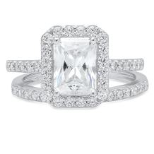 Clara Pucci 2.20 CT Emerald Brilliant Cut Simulated Diamond CZ Designer Solitaire Pave Halo Bridal Anniversary Wedding Promise Ring Band Set Solid 14k White Gold