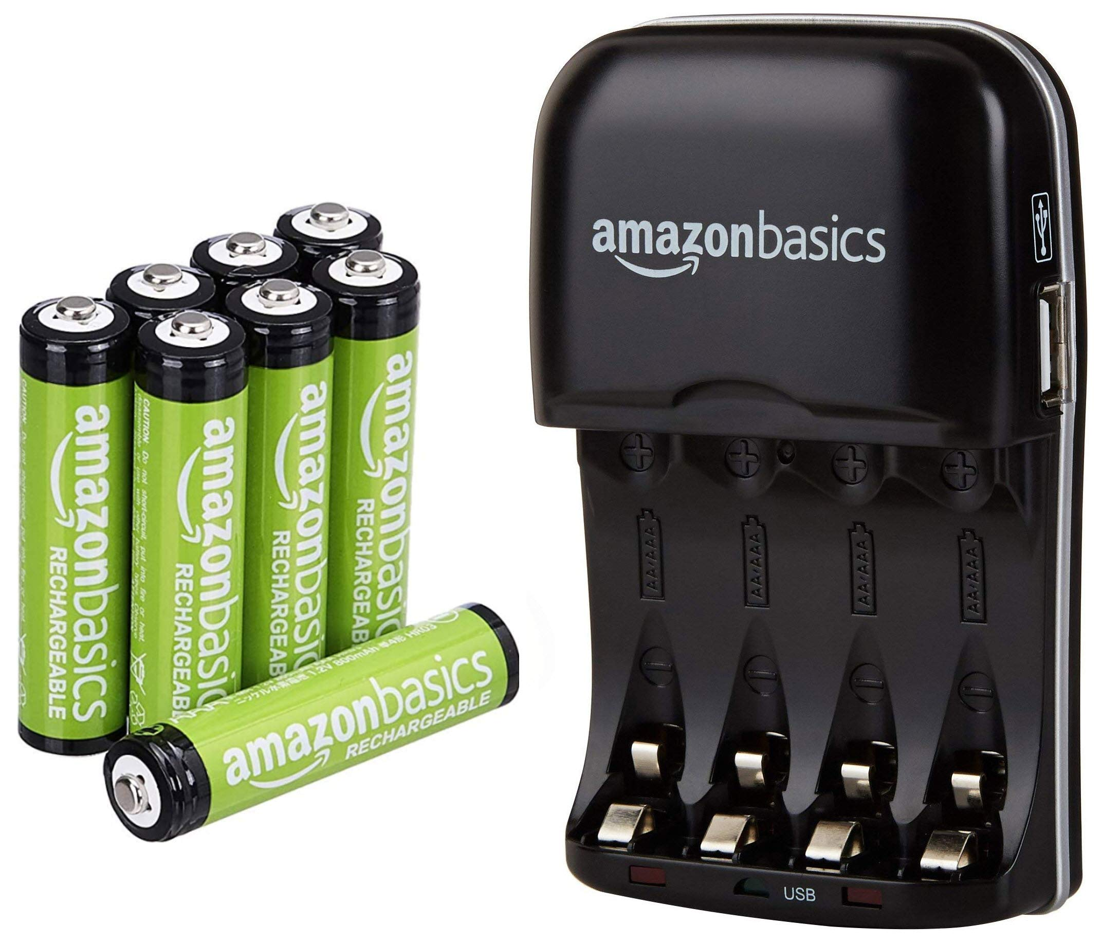 AmazonBasics AAA Rechargeable Batteries (8-Pack) and Ni-MH AA & AAA Battery Charger With USB Port Set