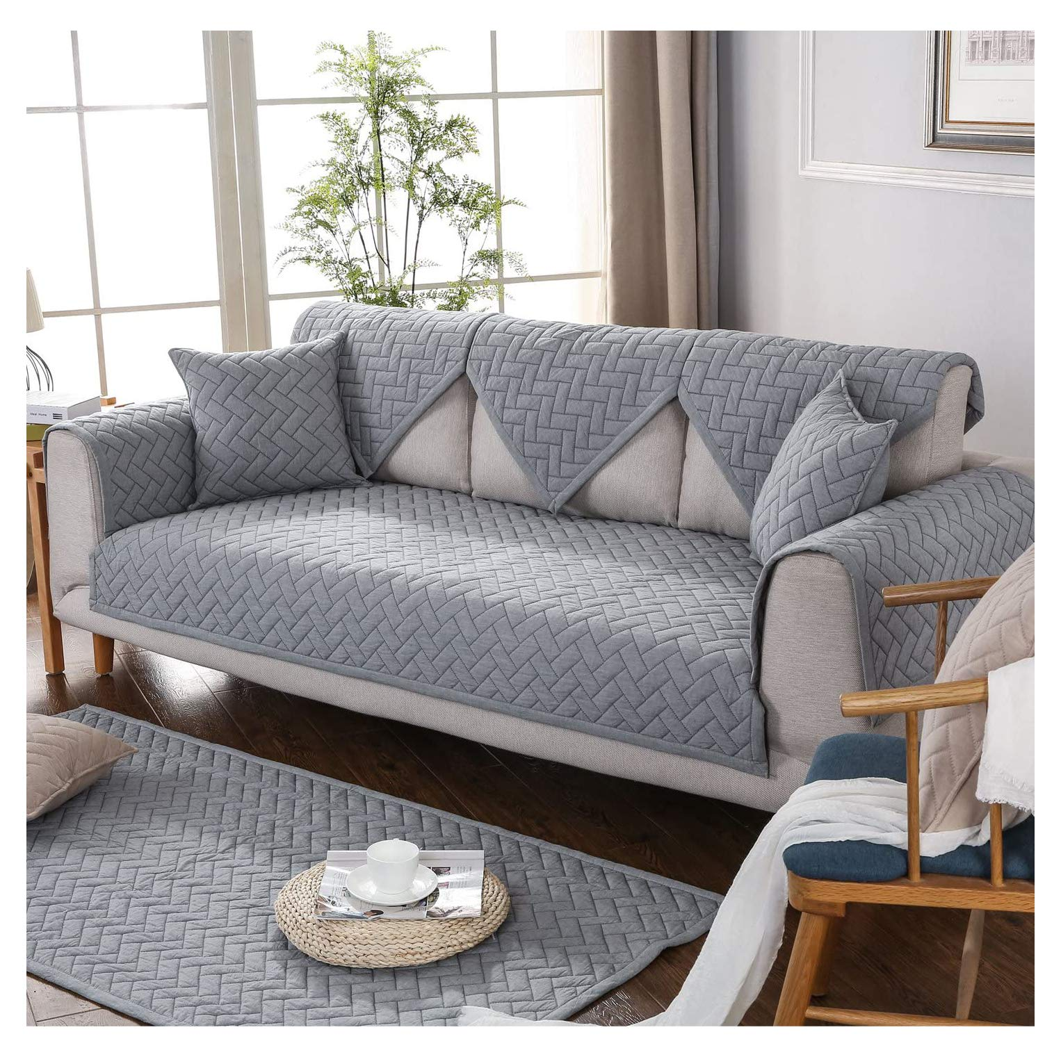 """GIANCO FERRO Sectional Sofa Slipcover Throw Covers Furniture Protector for Seat Multi-Size Soft Quilted Couch Covers for Pets Kids Gray,36""""x36"""""""