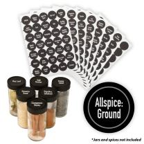 "AllSpice 315 Preprinted Water Resistant Round Spice Jar Labels Set 1.5""- Fits Penzeys and AllSpice Jars- 4 styles to choose from (Modern Black)"