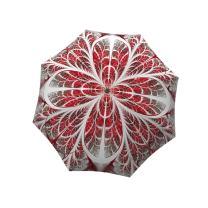 Compact Automatic Rain Umbrella Winter Wonderland Design- Designer Umbrella Windproof Auto Open Close - Art Umbrella for Women - Fashion Umbrella Stylish Gift - Vintage White and Red Umbrella by LB
