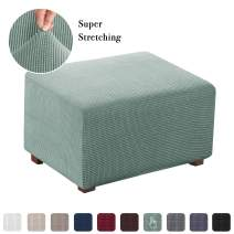 Stretch Ottoman Cover Folding Storage Stool Furniture Protector Soft Rectangle Slipcover with Elastic Bottom (Normal Size Ottoman, Sage)