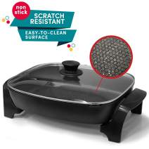 """Maxi-Matic Non-stick Deep Dish Heavy Duty Electric Skillet with Tempered Glass Vented Lid and Easy Pour Spout, Dishwasher Safe, 1500W, 8 Quart, 16"""" x 13"""" Rectangle, Black"""