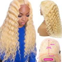 Deep Wavy Blonde Lace Front Wigs T-Part Human Hair Wigs Pre Plucked 13x4x1 Middle Part with Baby Hair Natural Hairline, Brazilian 9a Remy Human Hair Curly Wigs 613 for Black Women 150% Density 14 Inch
