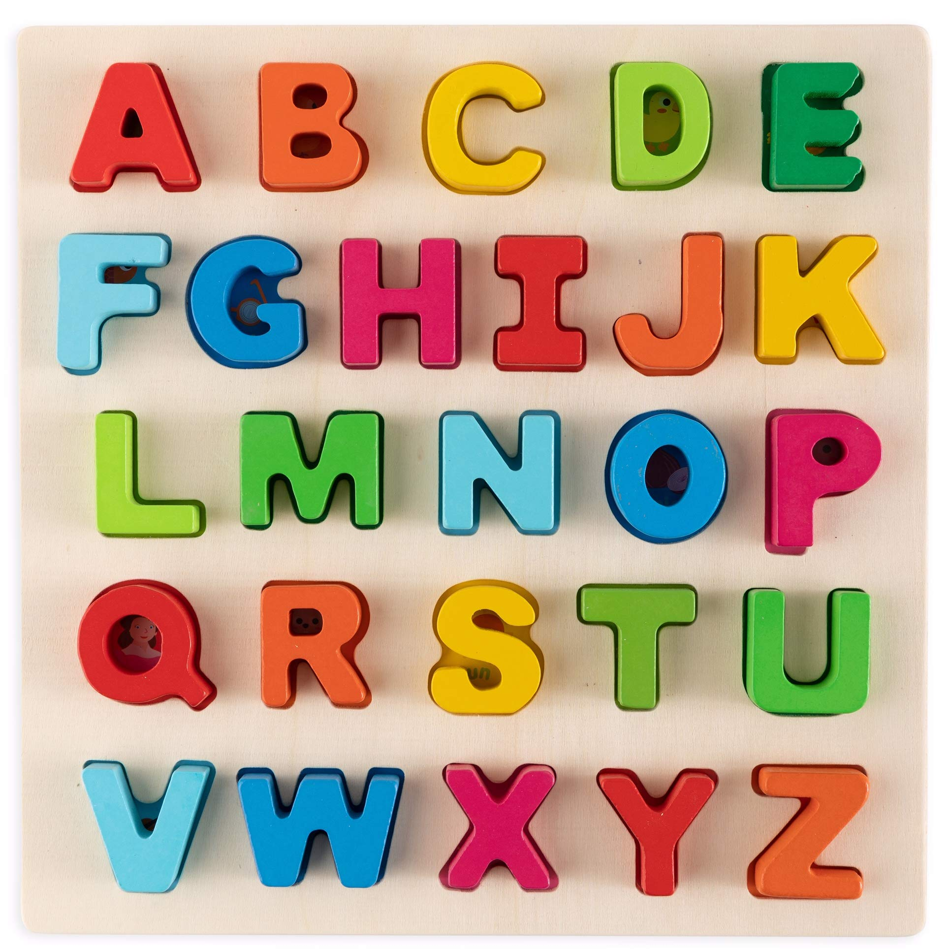 Toy To Enjoy Alphabet Puzzles - Wooden Upper Case Learning Board Toy - Ideal for Early Educational Learning for Kindergarten Toddlers & Preschools