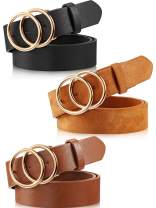 3 Pieces Women Leather Belt for Jeans Dress Waist Belts with Double Ring Buckle
