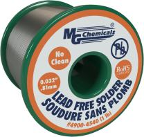 "MG Chemicals SAC305, 96.3% Tin, 0.7% Copper, 3% Silver, No Clean Lead Free Solder, 0.032"" Diameter, 1 lbs Spool"