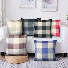 Plaid Throw Pillow Cover Linen Cotton Decorative Pillow Case 6-Pack Home Sofa Cushion Set Holiday Decor Cotton Linen Square Design 18x18 inch (Red)