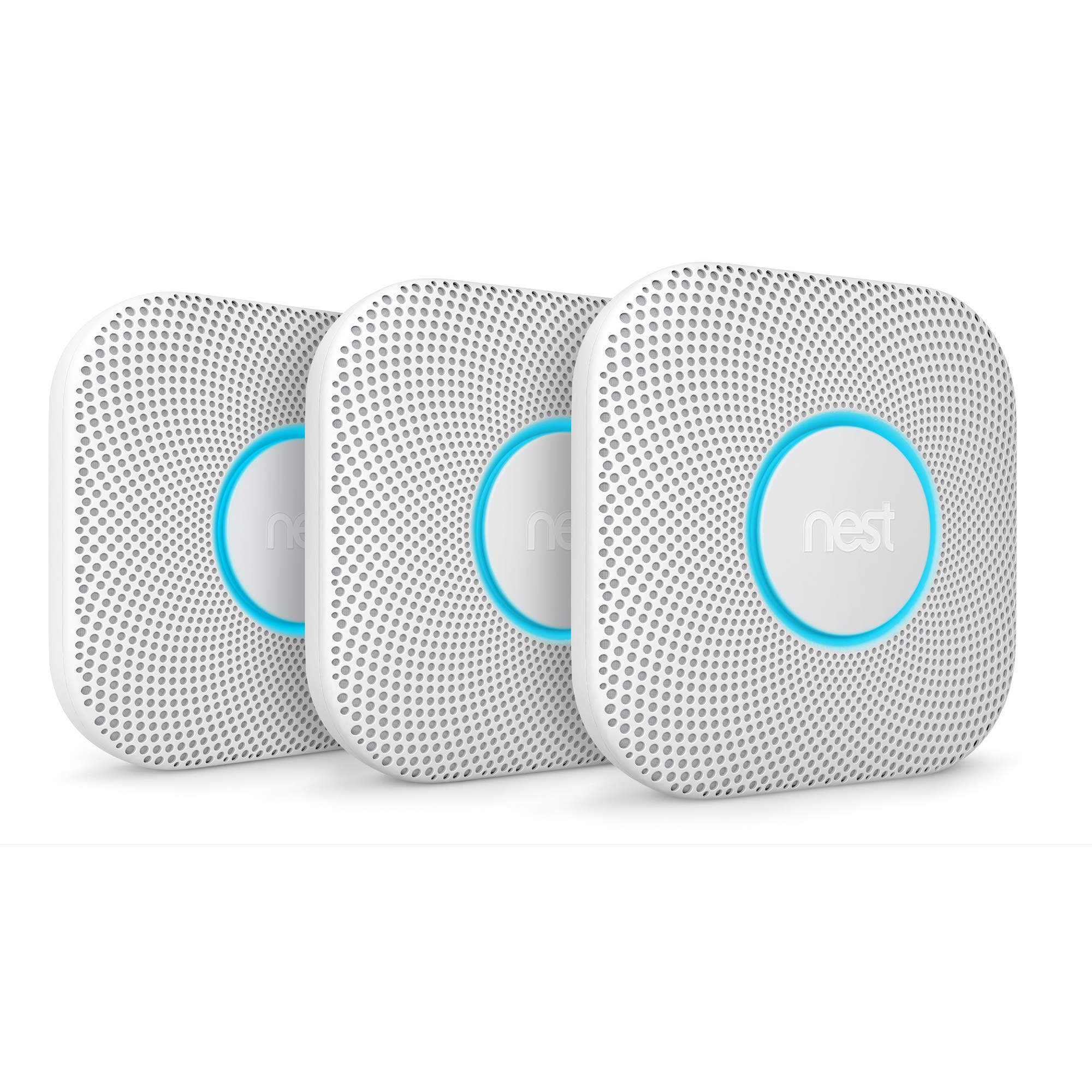 Google S3006WBUS Nest, 3 Pack, Protect, Smoke & Carbon Monoxide Alarm, 2nd Generation, 3-pack, Battery, 3, White, 3 Piece