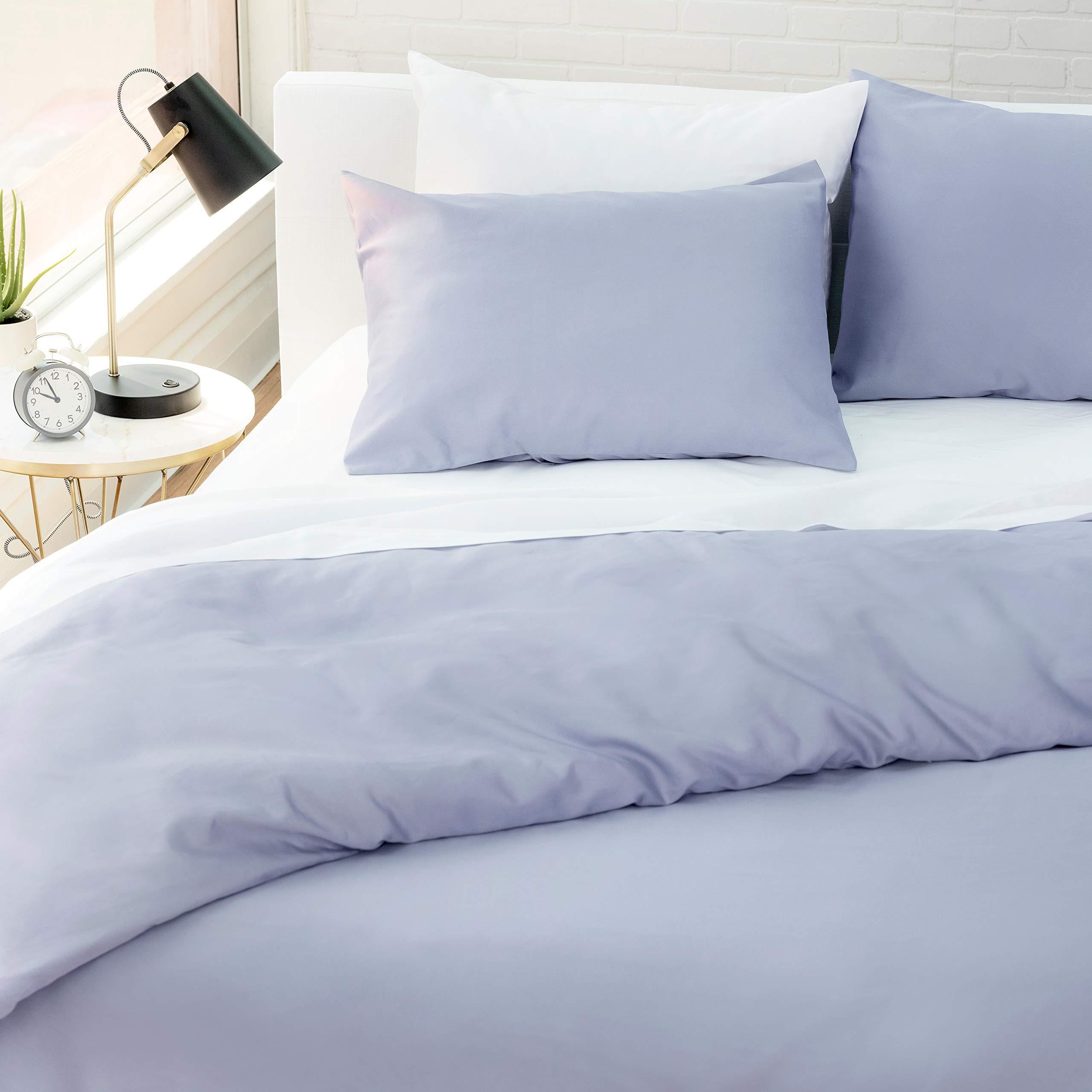 "Welhome Kensington 100% Cotton Sateen Duvet Set - King Size - 108""x 92"" - Breathable - Smooth & Soft - Durable - Machine Washable - Cornflower"