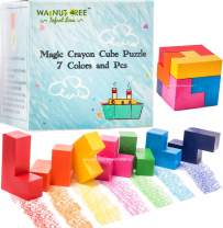 Crayons [Montessori] for Toddlers ages 4-8 | Jumbo Puzzle Child Development Art & Activity Set | Puzzle Cube Crayons | Non Toxic 7 Colors & Pcs |Palm Grip for Toddlers/Children, Washable, Non Toxic