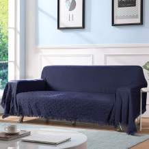 """TAOCOCO Geometrical Weave Sofa Cover, Home Décor Couch Slipcovers with Tassels, Couch Covers for 3 Cushion Couch, Couch Protector, Sectional Couch Covers for Home or Workplace (70"""" X118"""", Navy Blue)"""