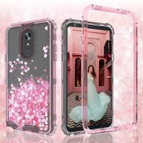 GW Case for LG K40 LMX420, LG Solo 4G LTE L423DL, LG Harmony 3/K12 Plus/X4 /Xpression Plus 2 Case Glitter Sparkle Flowing Liquid Heavy Duty Shockproof Protective Bling Girls Women Cases - Pink