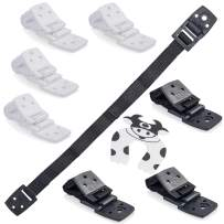 Bebe Earth - Furniture and TV Anti-Tip Straps (8-Pack) for Baby Proofing and Child Protection- Adjustable Wall Anchor Safety Kit - Secure Cabinets and Bookshelf from Falling- PARENT (Black and White)