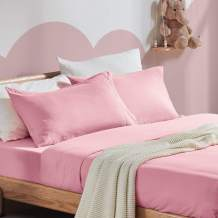 SLEEP ZONE 3-Piece Ultra Soft Kids Bed Sheet Set - Wrinkle & Fade Resistant Double Brushed Microfiber Bedspread Set with Deep Pocket 16 inches (Twin, Ballet Pink)