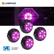 4pc SnakeEye III PURPLE LED Hideaway Strobe Light [SAE Class 1] [IP67 Waterproof] [72 Flash Modes] [Multi Units Sync-able] [Steady Override] Purple Emergency Strobe Police Lights For Truck Vehicles