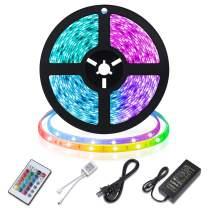 Led Strip Lights, 16.4ft(2 Pack) RGB Color Changing Lights Strip 5050 LED Tape Lights with 24 Keys IR Remote for Home, Bedroom, Kitchen, DIY Decoration (1 Pack)
