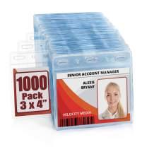 MIFFLIN Plastic Horizontal Card Holder (3x4 Inch, Clear, Bulk 1000 Pack) Quick Load No Zipper Name ID Badge