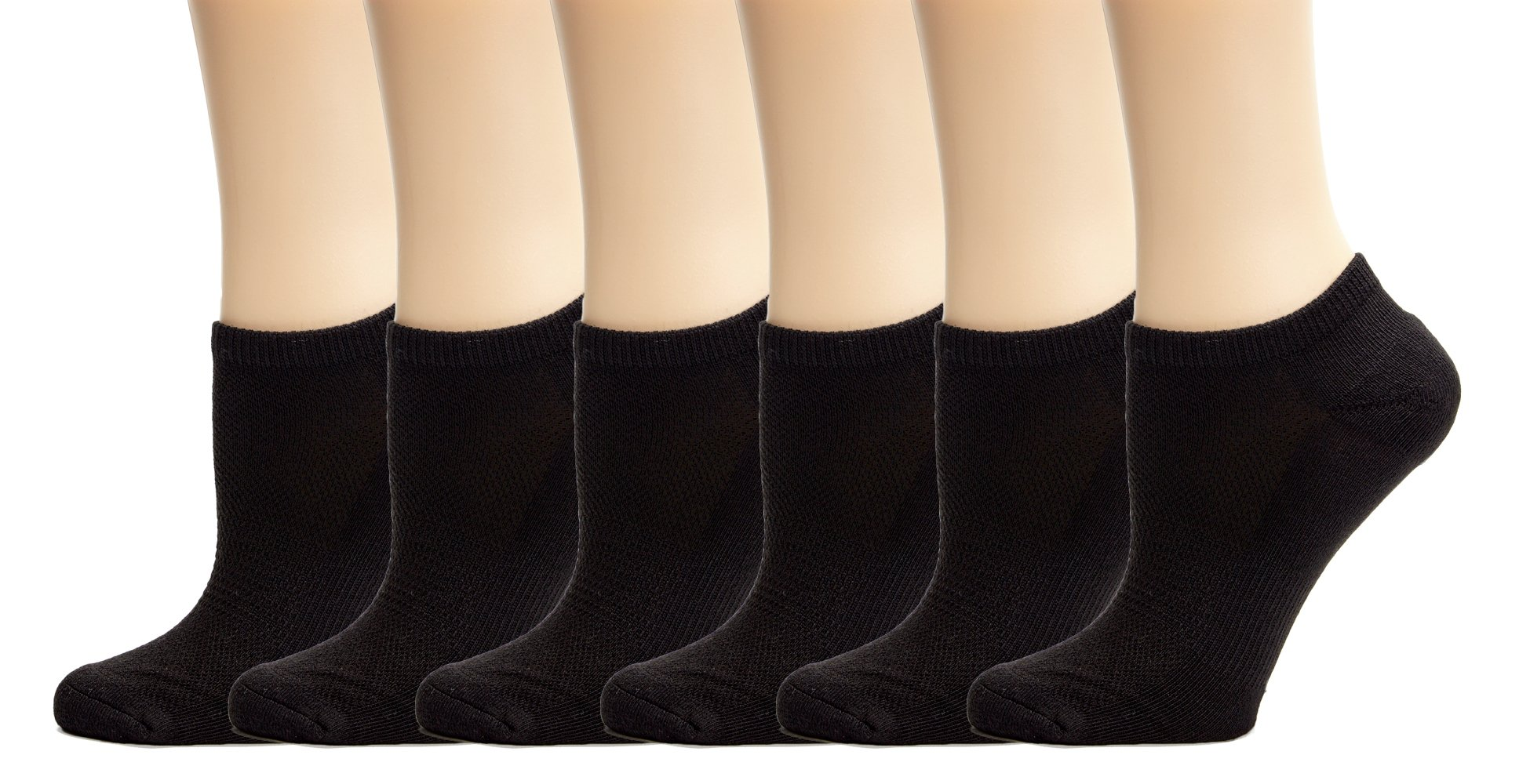 Silky Toes Athletic Socks 6 Pack - Women's No Show, Low Cut, Ankle Running Sock