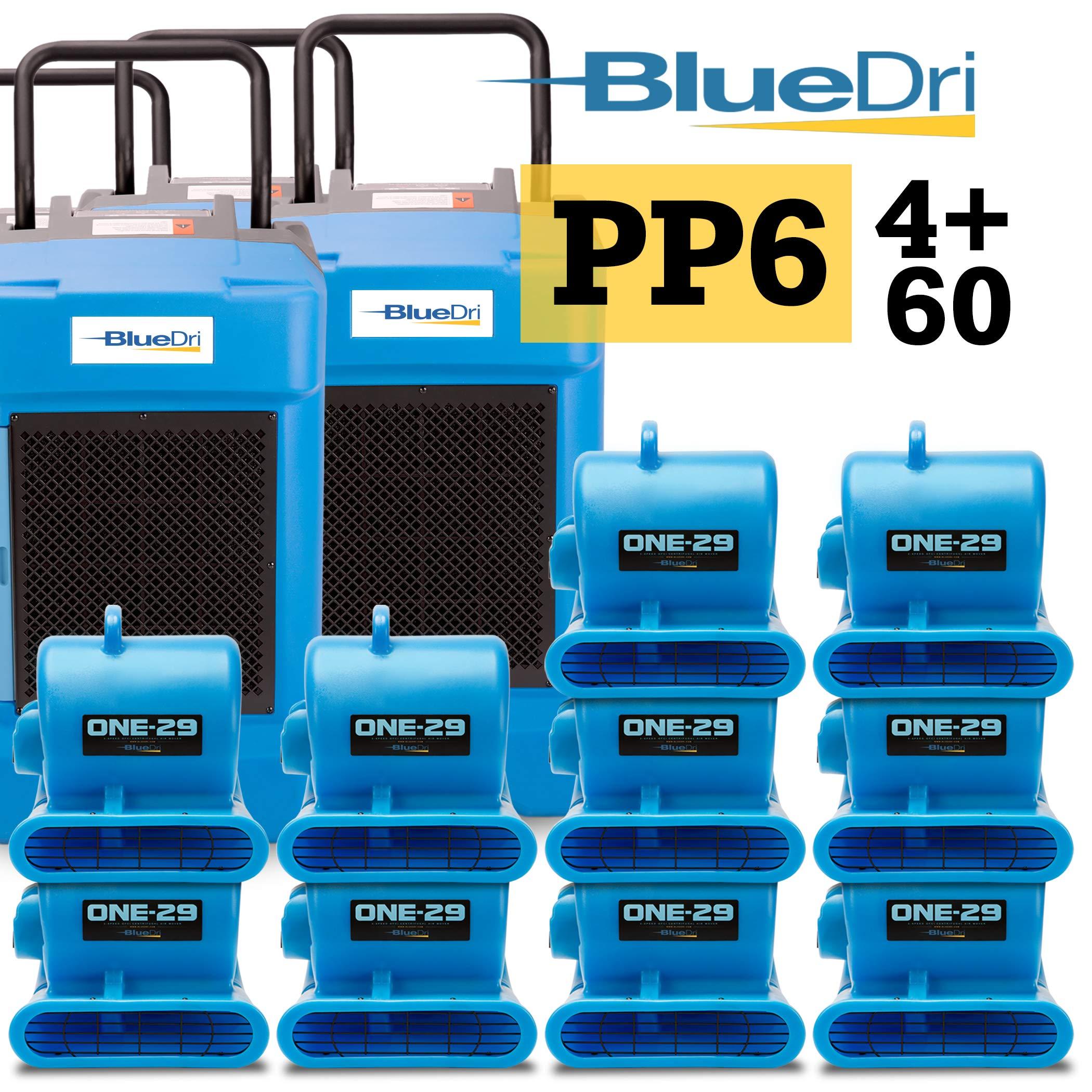 BlueDri Pro Pack 6, 4X BD-130P Dehumidifier & 60x One-29 Air Mover, Blue