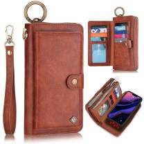 XRPow Wallet Case iPhone 11 Pro Max 6.5Inch [2 in 1] Magnetic Detachable Wallet Case [Vegan Leather] Zipper Clutch Folio Flip Card Solt [Wrist Strap] Purse Protection Back Cover - Brown
