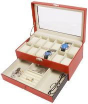 Amelitory 12 Slot Watch Box for Men Display Case Watch Organizer Jewelry Tray Faux Leather Reddish Brown