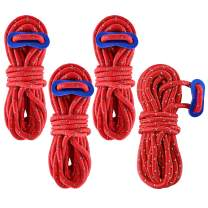 Balit 4PACK 550 Reflective Paracord/Parachute Cord 4mm with Aluminum Rope Adjuster Nylon Camping Tent Guyline Tensioner 13FT for Camping, Hiking, Tent, Lanyard, Survival Bracelets and Outdoor Activity