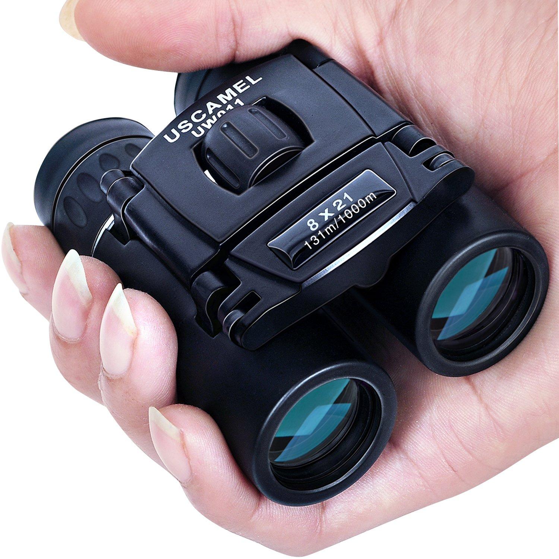 USCAMEL Folding Pocket Binoculars Compact Travel Mini Telescope HD Bak4 Optics Lenes Easy Focus 8x21 Colour Black