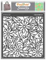 CrafTreat Daisy Flower Stencils for Painting on Wood, Canvas, Paper, Fabric, Floor, Wall and Tile - Daisy with Leaf Background - 6x6 Inches - Reusable DIY Art and Craft Stencils for Painting Flowers