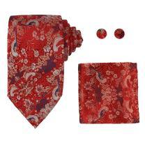 Y&G Men's Fashion Valentines Multicolors Necktie Cufflinks Hanky Pattern Stripe Silk Tie 3PT